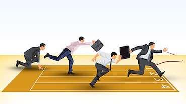 office men are running a race