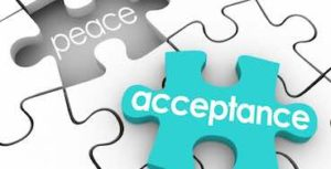 piece of puzzle representing word acceptance, and speace for it with written the word peace