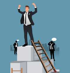 man is boasting at the top of a ladder