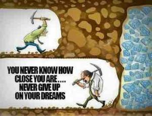 man in a cave is quitting to achieve his goal, get the diamonds
