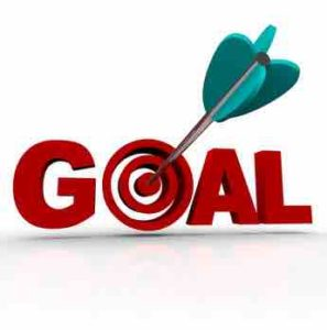 the writing GOAL with an arrow hitting the center of letter o