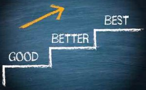 3 steps with words good, better, best and arrow is showing the way