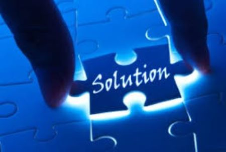 piece of puzzle with the word solution written on it