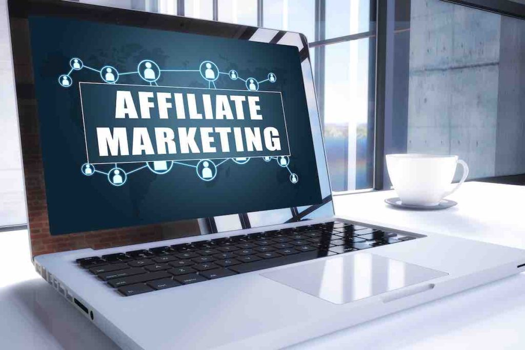 laptop screen with the writing affiliate marketing