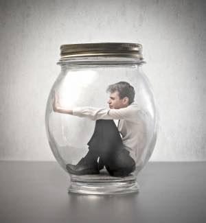 man is stuck in a jar