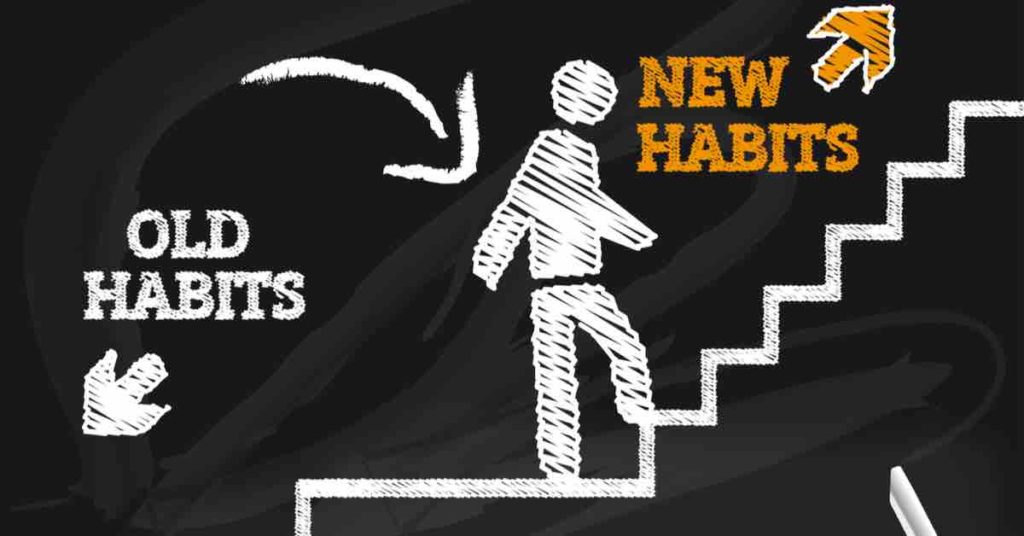 a man is walking on a stair case that pinpoints new habits