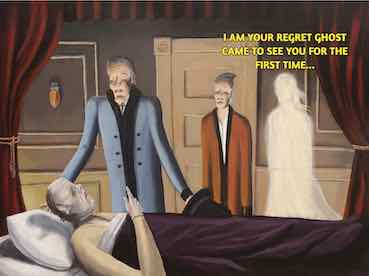 man is lying dead in his bed with a ghost close to him