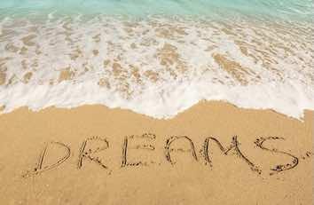 writing dreams on the beach