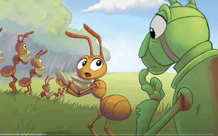 Grasshopper asking questions to the Ant