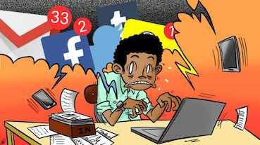cartoon showing guy distracted by socia medias