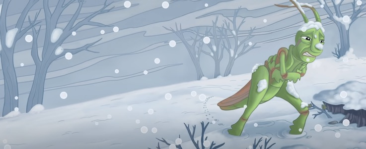 grasshopper is suffering in the snow