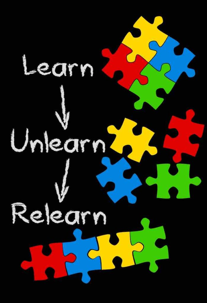 puzzle pieces with following words next to them: learn unlearn relearn