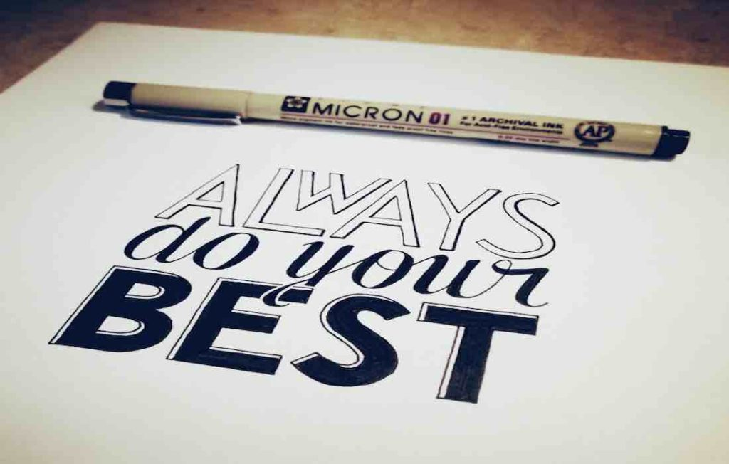 sheet with writing: always do your best
