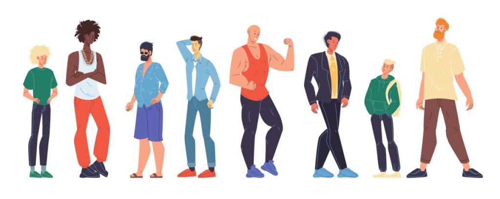 Multiracial man different age, nationality, appearance, body shape type size