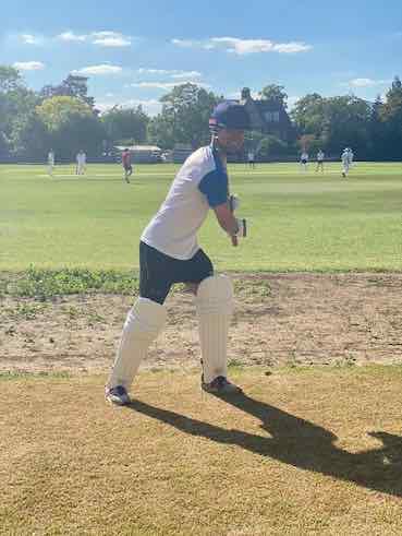 Christian wearing cricket'gear