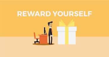 gift box and writing: reward yourself