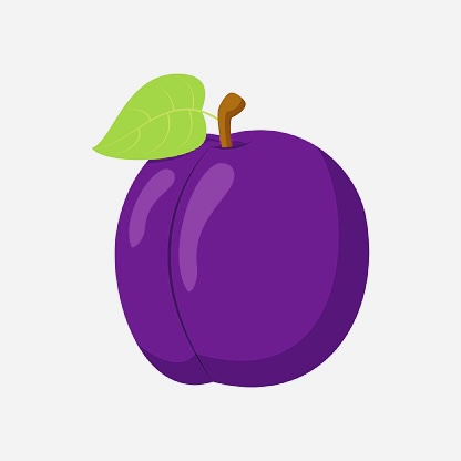 Vector illustration of a funny plum in cartoon style.