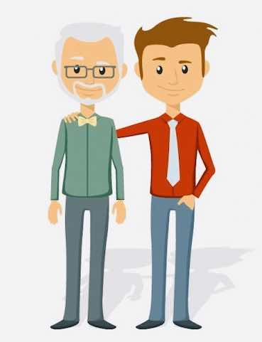 old man and young guy cartoon