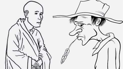 Old master and farmer cartoon