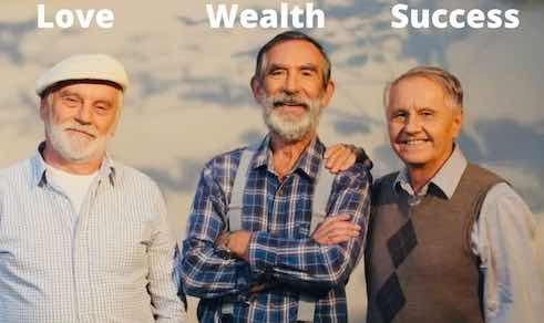 Three old men smiling