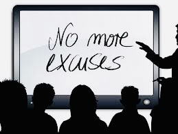 black board shows writing: No more excuses