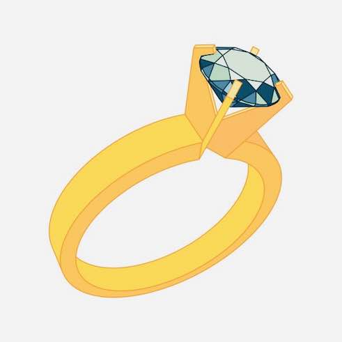 cartoon ring with a diamond on the top