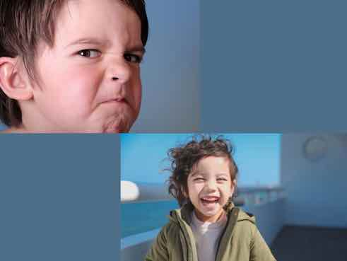 child holding a grudge vs child smiling