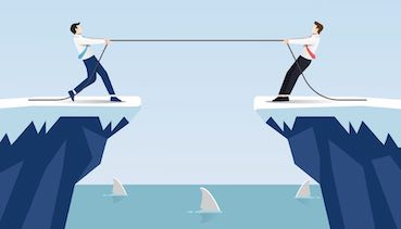 Two businessmen cartoons pull rope at edge of cliff concept: Business competition