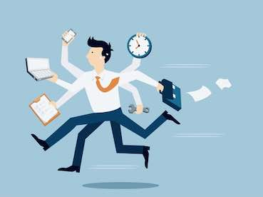 over stressed business man cartoon in a rush
