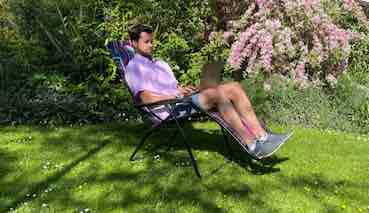 myself using a laptop in the garden