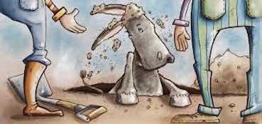 cartoon of a donkey stepping out of a hole