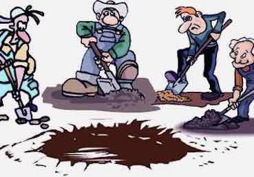 cartoon of men shoveling close to a hole