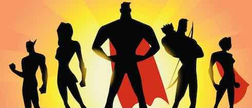 cartoon of superheros