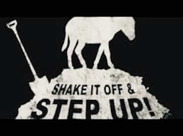 donkey icon with the inscription: shake it off and step up!